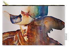 Carry-all Pouch featuring the painting Rainbow Cowboy by Jani Freimann