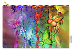 Carry-all Pouch featuring the mixed media Rainbow Dreams by Carol Cavalaris