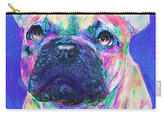 Carry-all Pouch featuring the digital art Rainbow French Bulldog by Jane Schnetlage