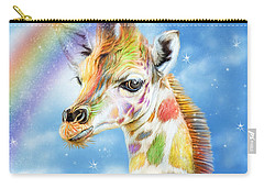 Carry-all Pouch featuring the mixed media Rainbow Giraffe by Carol Cavalaris