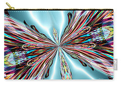 Rainbow Glass Butterfly On Blue Satin Carry-all Pouch