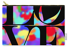 Rainbow Love In Black Carry-all Pouch by Kasia Bitner