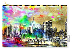 Rainbow Nyc Skyline Carry-all Pouch by Daniel Janda