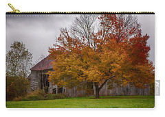 Carry-all Pouch featuring the photograph Rainbow Of Color In Front Of Nh Barn by Jeff Folger