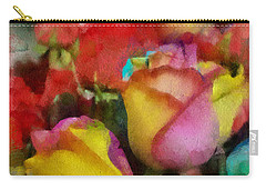 Rainbow Roses Watercolor Digital Painting Carry-all Pouch by Eti Reid