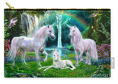 Rainbow Unicorn Family Carry-all Pouch by Jan Patrik Krasny