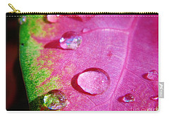 Raindrop On The Leaf Carry-all Pouch by D Hackett