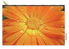 Raindrops On Orange Daisy Flower Carry-all Pouch
