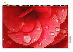 Raindrops On Red Begonia Carry-all Pouch by Jim Hughes