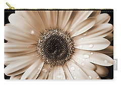 Carry-all Pouch featuring the photograph Raindrops On Gerber Daisy Sepia by Jennie Marie Schell