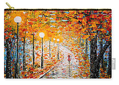 Carry-all Pouch featuring the painting Rainy Autumn Day Palette Knife Original by Georgeta  Blanaru