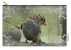 Rainy Day Sparrow With Verse Carry-all Pouch by Debbie Portwood