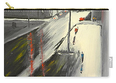 Carry-all Pouch featuring the painting Rainy Street In Melbourne by Pamela  Meredith