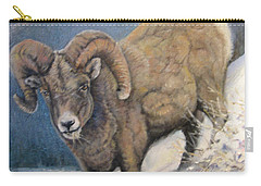 Carry-all Pouch featuring the painting Ram In The Snow by Donna Tucker