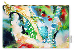 Randy Rhoads Playing The Guitar - Watercolor Portrait Carry-all Pouch