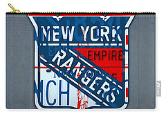 Rangers Original Six Hockey Team Retro Logo Vintage Recycled New York License Plate Art Carry-all Pouch by Design Turnpike