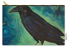 Carry-all Pouch featuring the painting Space Raven by Yulia Kazansky