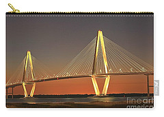 Ravenel Bridge At Dusk Carry-all Pouch by Adam Jewell