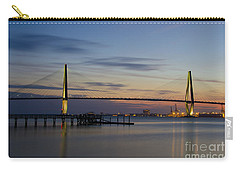 Carry-all Pouch featuring the photograph Ravenel Bridge Nightfall by Dale Powell