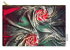 Raw Red Roses Framed Carry-all Pouch