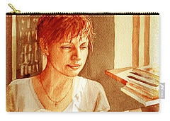 Carry-all Pouch featuring the painting Reading A Book Vintage Style by Irina Sztukowski