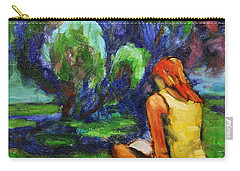 Carry-all Pouch featuring the painting Reading In A Park by Xueling Zou