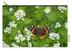 Carry-all Pouch featuring the photograph Red Admirals by Lingfai Leung