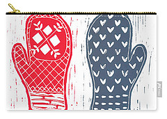 Red And Blue Nordic Mittens Carry-all Pouch
