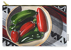 Carry-all Pouch featuring the painting Red And Green Peppers by Laura Forde