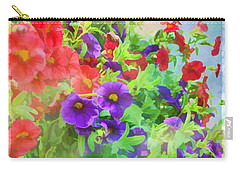 Red And Purple Calibrachoa - Digital Paint I Carry-all Pouch by Debbie Portwood