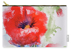 Carry-all Pouch featuring the painting Red Anemones by Marna Edwards Flavell