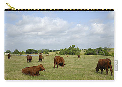 Carry-all Pouch featuring the photograph Red Angus Cattle by Charles Beeler