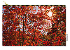 Carry-all Pouch featuring the photograph Red Autumn Leaves by Jerry Cowart