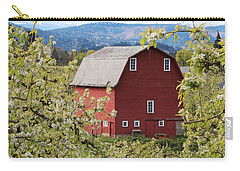 Carry-all Pouch featuring the photograph Red Barn And Apple Blossoms by Patricia Babbitt