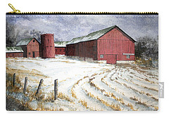 Carry-all Pouch featuring the painting Red Barn On Rt. 49 by Roger Rockefeller