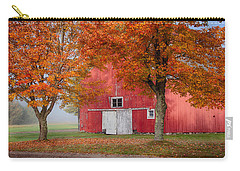Carry-all Pouch featuring the photograph Red Barn With White Barn Door by Jeff Folger