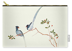 Red Billed Blue Magpies On A Branch With Red Berries Carry-all Pouch