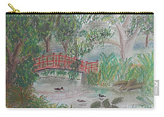Red Bridge At Wollongong Botanical Gardens Carry-all Pouch by Pamela  Meredith