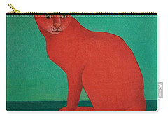 Carry-all Pouch featuring the painting Red Cat by Pamela Clements