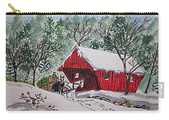Red Covered Bridge Christmas Carry-all Pouch by Kathy Marrs Chandler