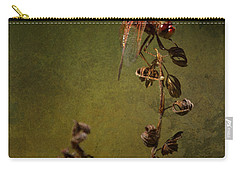 Carry-all Pouch featuring the photograph Red Dragonfly On A Dead Plant by Belinda Greb