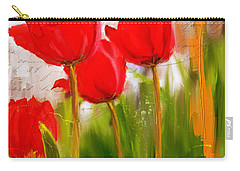 Red Enigma- Red Tulips Paintings Carry-all Pouch by Lourry Legarde