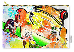 Red Eyed Tree Frog Grunge Carry-all Pouch by Daniel Janda