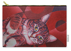 Red Feline Geometry Carry-all Pouch by Pamela Clements