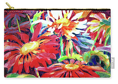 Red Floral Mishmash Carry-all Pouch by Kathy Braud
