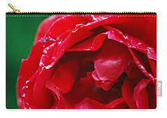 Carry-all Pouch featuring the photograph Red Flower Wet by Matt Harang
