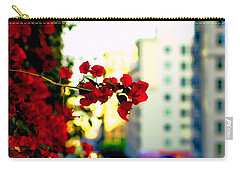 Carry-all Pouch featuring the photograph Red Flowers Downtown by Matt Harang