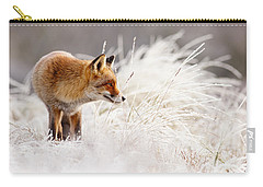 Red Fox And Hoar Frost _ The Catcher In The Rime Carry-all Pouch by Roeselien Raimond