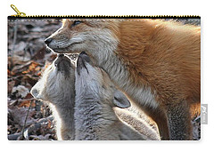Red Fox Kits And Parent Carry-all Pouch by Doris Potter