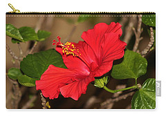 Red Hibiscus Flower Carry-all Pouch by Cynthia Guinn